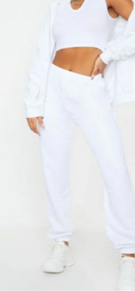 Prettylittlething white joggers sweat pants Small